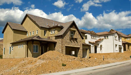 housing lot: New residential construction in a subdivision of a new community Stock Photo