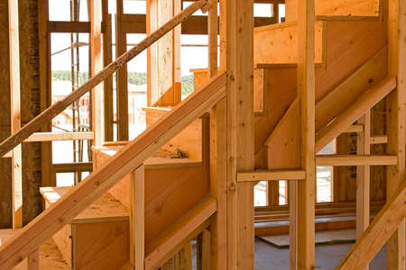 rafters: New residential construction in a subdivision of a new community Stock Photo