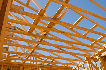 joists: New residential construction in a subdivision of a new community Stock Photo