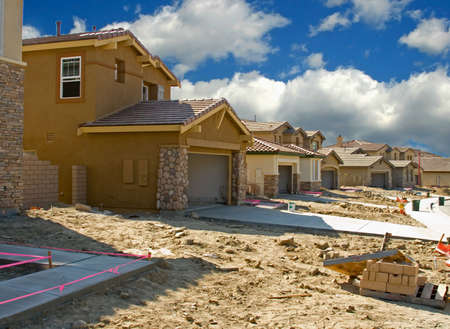 subdivisions: New residential construction in a subdivision of a new community Stock Photo