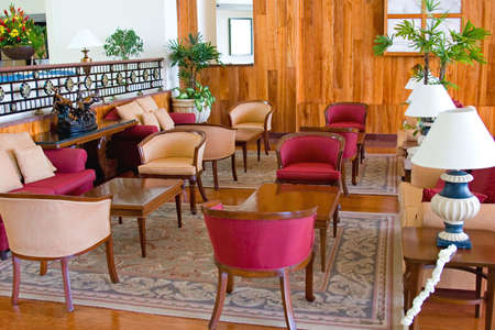 Luxury resort hotel lobby, lounge, waiting area, and conference center photo