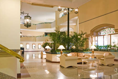 Luxury resort hotel lobby, lounge, waiting area, and conference center