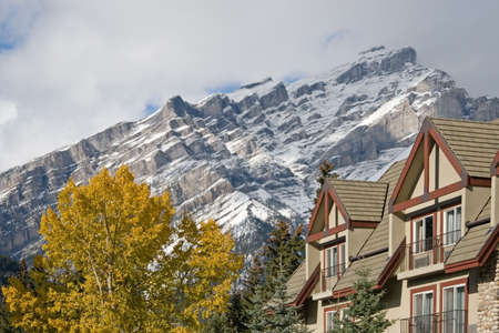 Towering Rocky Mountains covered in winter snow in Alberta, Canada while on a vacation travel holiday photo