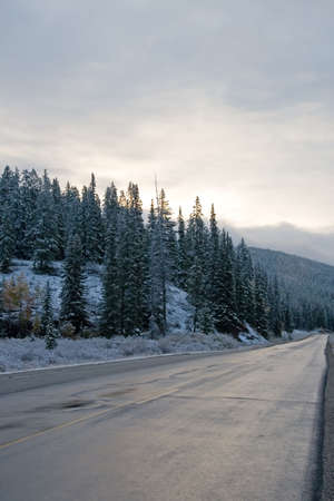 just in time: Snow covered landscapes in winter just in time for  and holiday season Stock Photo