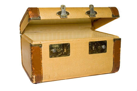 Old antique hand luggage for travel and tourism photo
