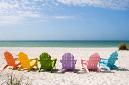 strandstoel: Strand en de oceaan SCENICS voor vakantie en de zomer getaways Stockfoto