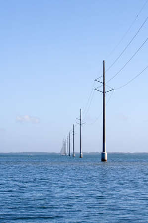 Electric power lines over water in florida