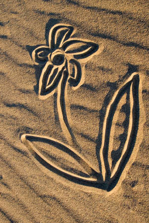 drawings image: Drawings in the sand dunes in the desert Stock Photo