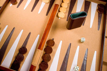 Backgammon game board with dice, pieces, and bars