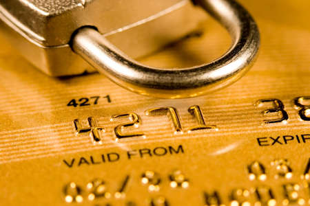 Close up of a credit or debit card for security background photo