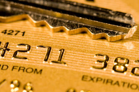 Close up of a credit or debit card for security background Stock Photo - 3578359
