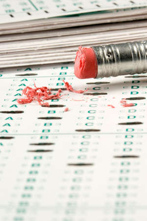 standardized: Standardized quiz or test score sheet with multiple choice answers