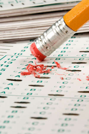 eraser mark: Standardized quiz or test score sheet with multiple choice answers