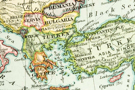greece map: Vintage (1907 copyright-expired) map showing countries and trade routes
