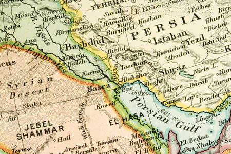 basra: Vintage (1907 copyright-expired) map showing countries and trade routes