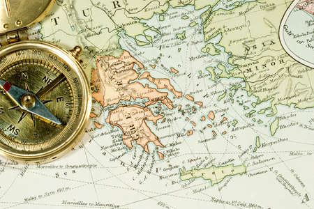 greek islands: Vintage (1907 copyright-expired) map showing countries and trade routes