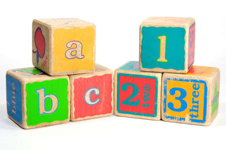 baby blocks: Childs toy blocks for education and learning the A B Cs Stock Photo