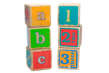 cs: Childs toy blocks for education and learning the A B Cs Stock Photo
