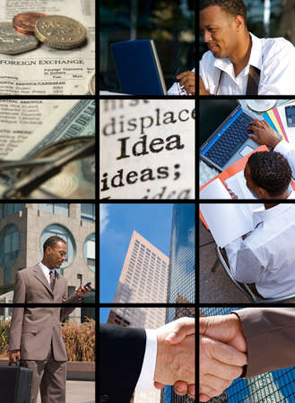 Collection and Collage of modern day business Stock Photo