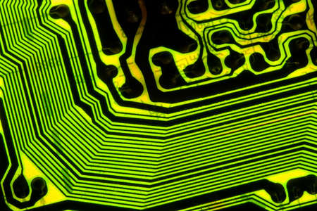 Electronic circuit board background showing wires and microchips