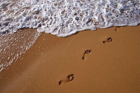 footsteps: Tropical Hawaiian beach and rolling surf on the island of Kauai Stock Photo