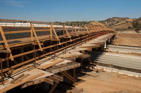 rebar: Highway bridge construction project showing rebar and wood framing Stock Photo