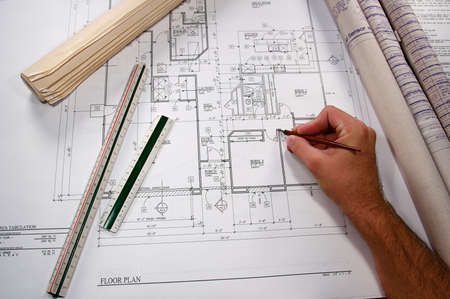 homes: Architectural blueprints of new homes and communities Stock Photo