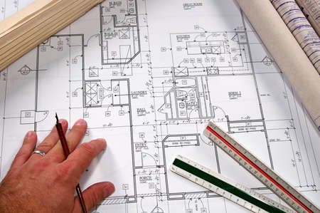 新しい家庭や地域社会の建築設計図 写真素材