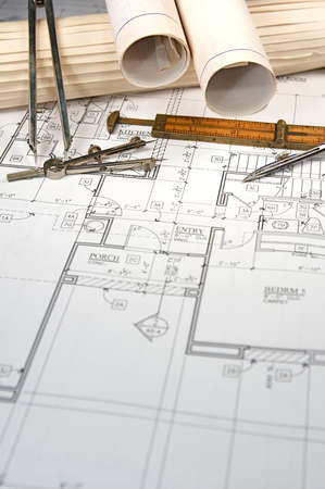architect drawing: Architectural blueprints of new homes and communities Stock Photo