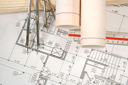 Architectural blueprints of new homes and communities Stock Photo