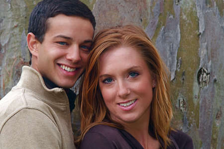 Young couple in an autumn forest picnic area Stock Photo - 5442009
