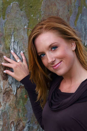 nosering: Young beautiful woman in an autumn setting Stock Photo