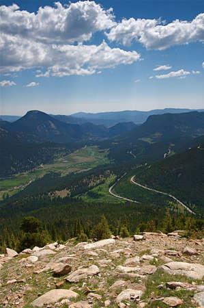 pine creek: Summer vacation travelers tour through Rocky Mountain National Park in Colorado USA