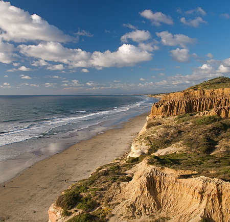 Sweeping view of the rugged California coastline and ocean beaches photo
