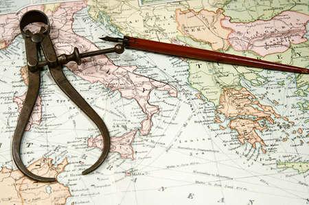 유럽과 아시아의 빈티지 (1907 저작권이 만료)지도