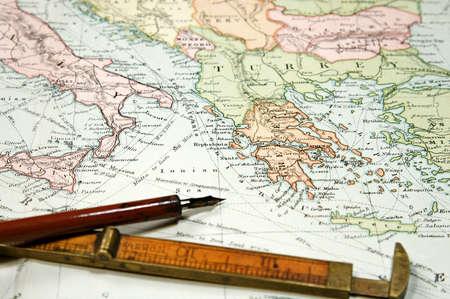 ヴィンテージ (1907 著作権期限切れ) ヨーロッパとアジアの地図