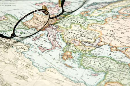 Vintage (1907 auteursrechtelijk verlopen) kaart van Europa en Azië