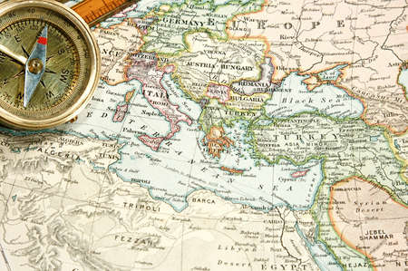 Vintage (1907 auteurs rechte lijk beschermd is verlopen) kaart van Europa en Azië  Stockfoto
