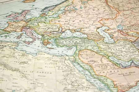 Vintage (1907 auteurs rechte lijk beschermd verlopen) kaart van Europa en Azië Stockfoto