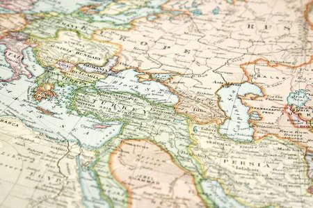 유럽과 아시아의 빈티지 (1907 저작권 만료)지도 스톡 콘텐츠