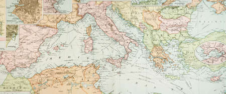 europe: Panoramic view of an antique (1907 copyright expired) map