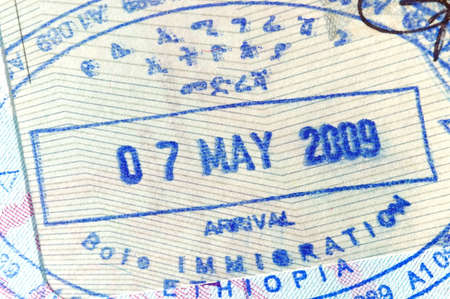 Passport page with entry stamp for Ethiopia photo