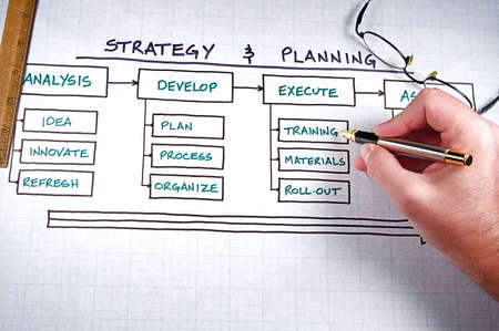 Business strategy organizational charts and graphs Banco de Imagens