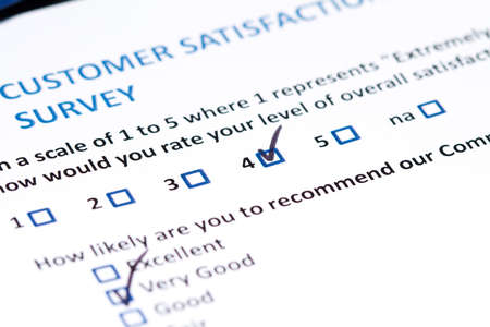 A survey questionnaire for customer satisfaction with checkboxes photo