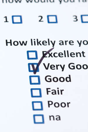 A survey questionnaire for customer satisfaction with checkboxes Stock Photo - 7390281