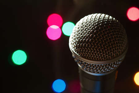 On stage microphone of a popular artist with spot lights Banco de Imagens - 8748343