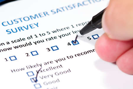 customer survey: A survey questionnaire for customer satisfaction with checkboxes Stock Photo