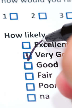 A survey questionnaire for customer satisfaction with checkboxes Stock Photo - 8939790