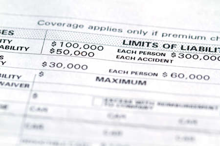 amounts: Invoice disclosure form showing liability and deductible for cars