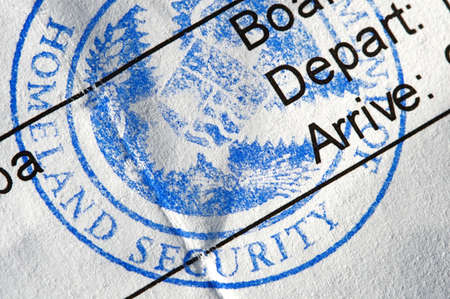 homeland: Airline boarding pass with public seal of Homeland Security